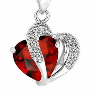 Ruby Heart Pendant Charm forChain Necklace Jewelry